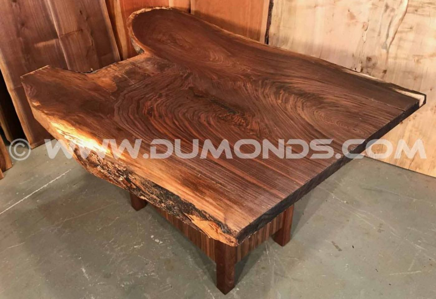 WALNUT CROTCH CURLY WALNUT TABLE WITH WALNUT BASE