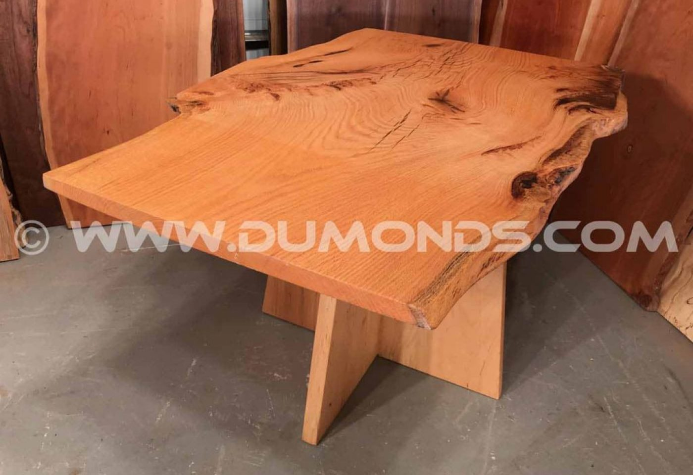 OAK TABLE WITH MAPLE PEDESTAL BASE