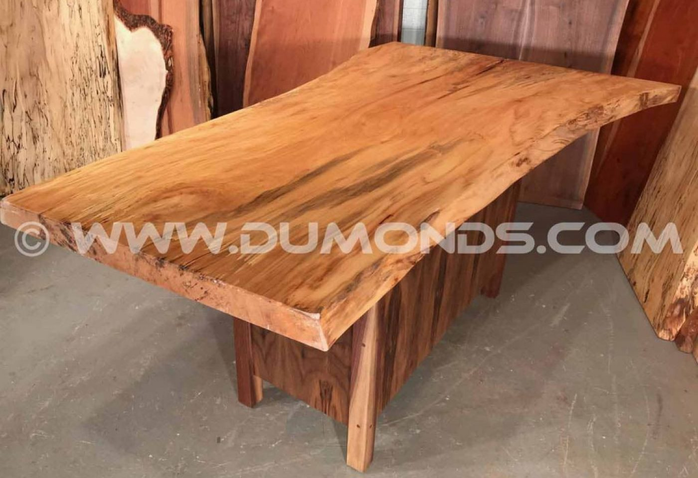 RECYCLED URBAN SYCAMORE TABLE WITH WALNUT PEDESTAL BASE