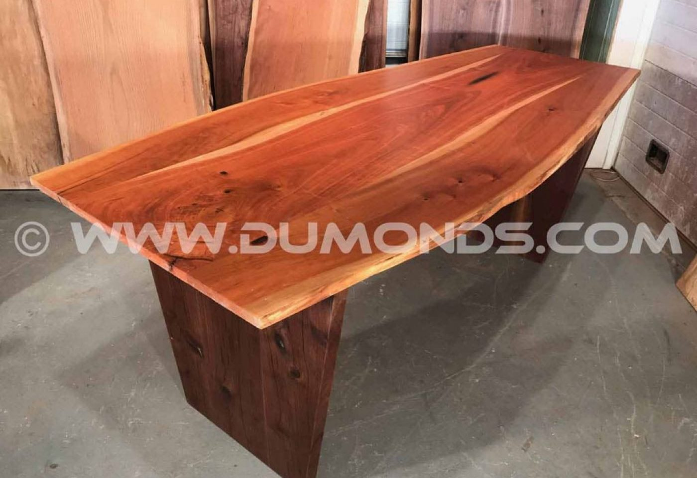 PENNSYLVANIA CHERRY BOAT SHAPED TABLE WITH WALNUT BASE