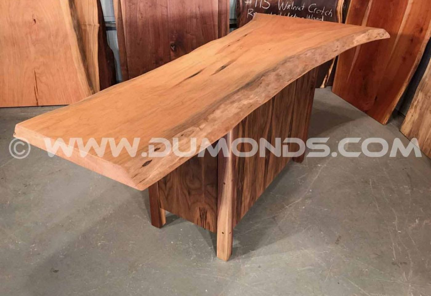 WASHINGTON, DC CHERRY SLAB TABLE WITH WALNUT BASE