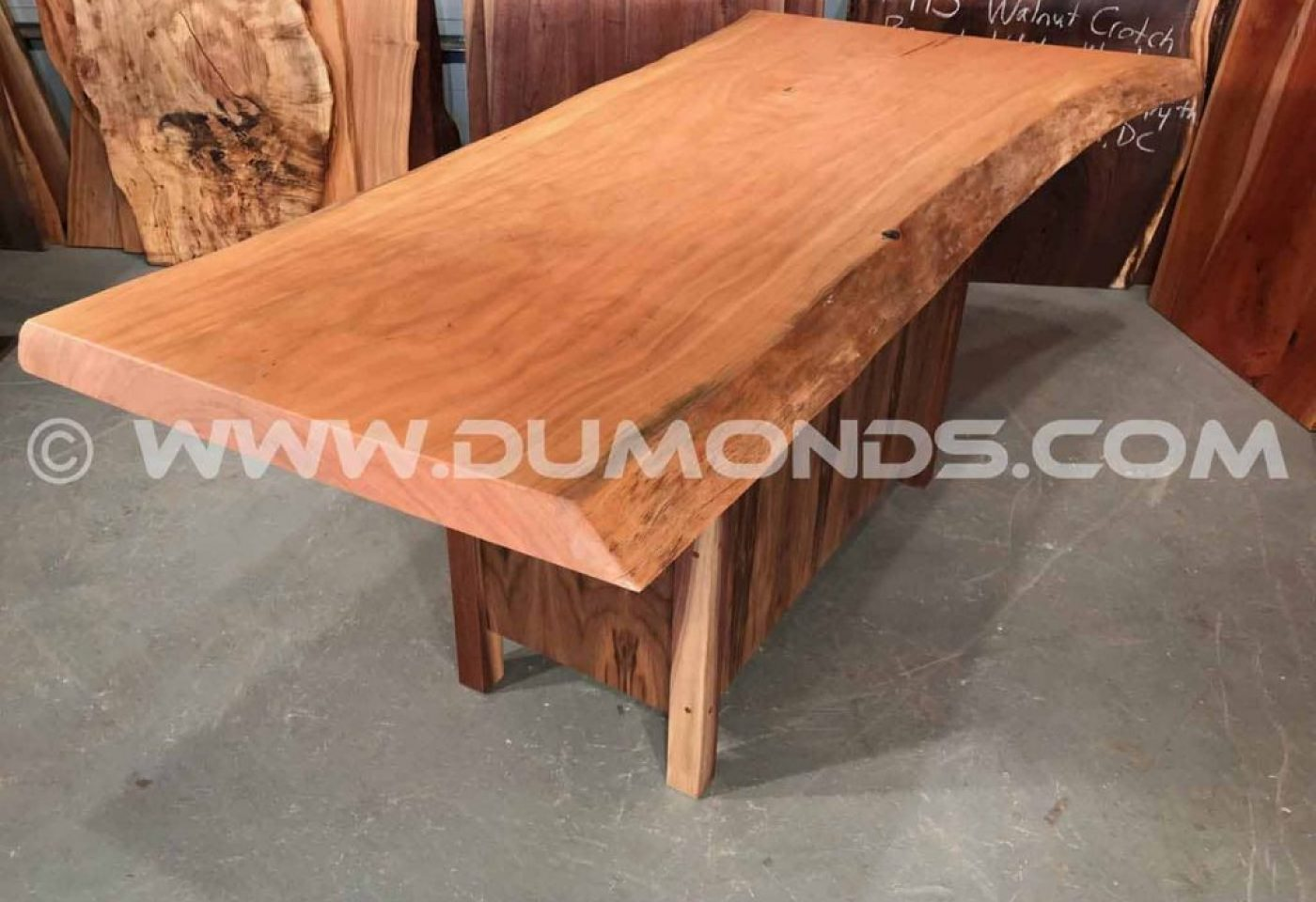 RECYCLED WASHINGTON, DC URBAN CHERRY SLAB TABLE WITH WALNUT BASE