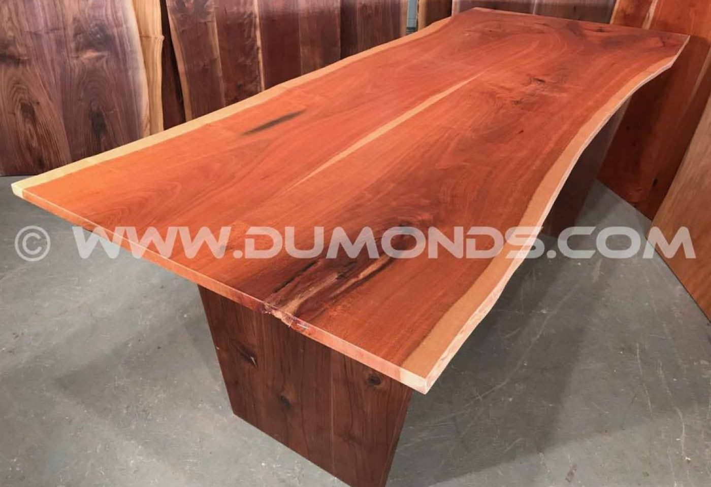 LANCASTER, PA CHERRY SLAB TABLE WITH WALNUT BASE