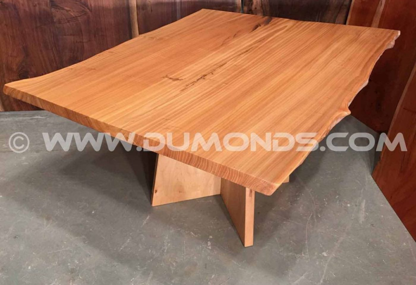 URBAN SALVAGED SIBERIAN ELM LIVE EDGE SLAB TABLE WITH MAPLE PEDESTAL BASE