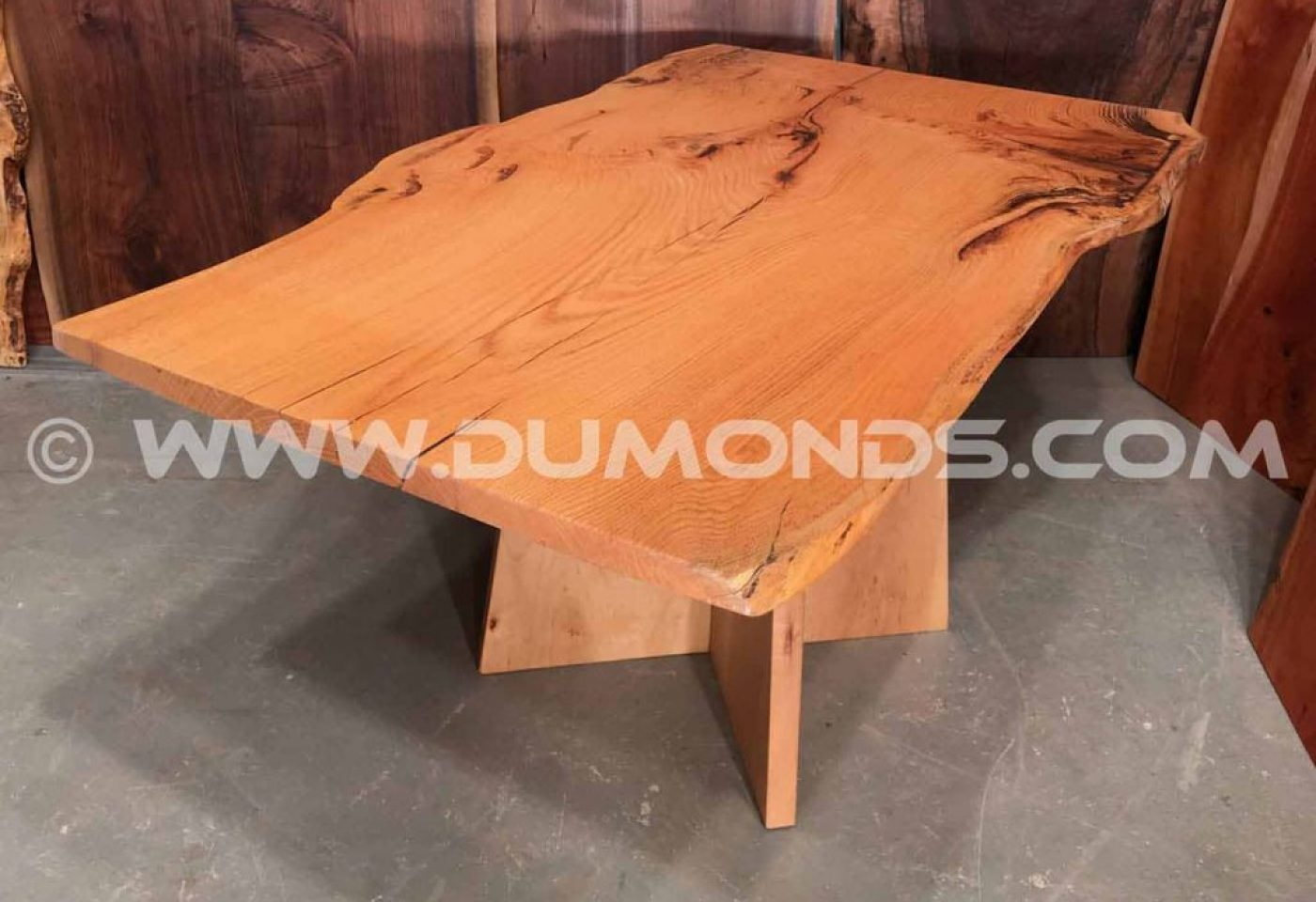 URBAN SALVAGED OAK LIVE EDGE SLAB TABLE WITH MAPLE PEDESTAL BASE