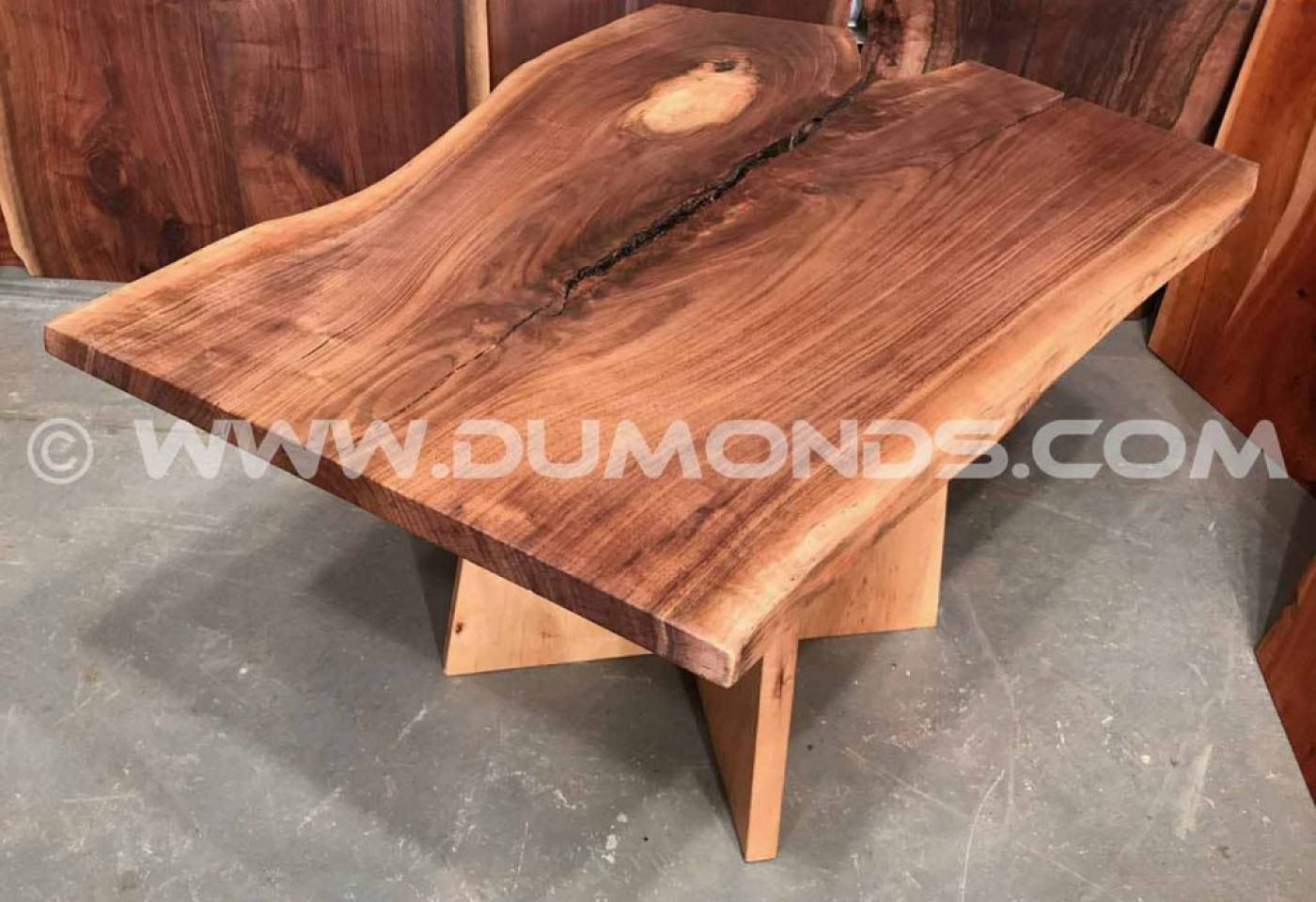WALNUT CROTCH LIVE EDGE SLAB TABLE WITH WALNUT BASE