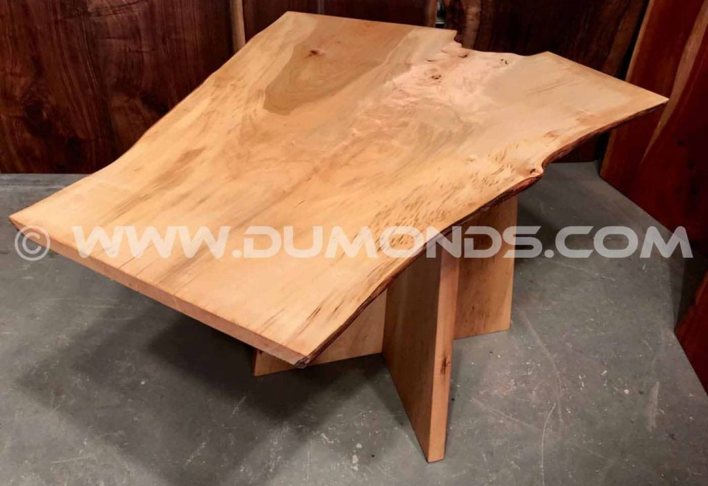 RECYCLED MAPLE CROTCH LIVE EDGE SLAB TABLE WITH MAPLE BASE