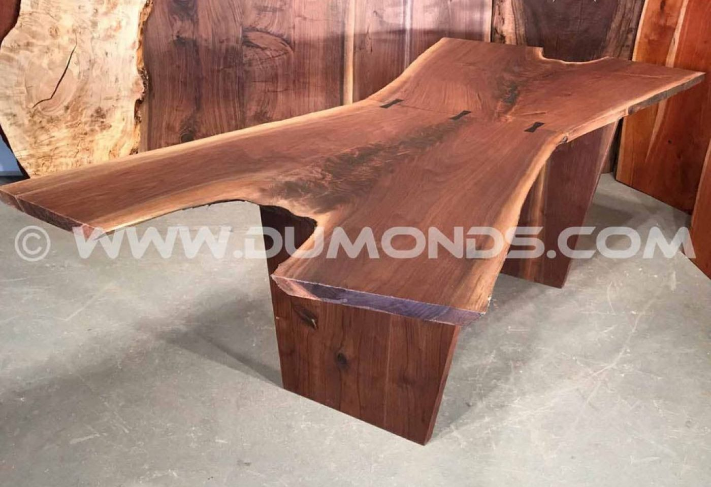 DOUBLE WALNUT CROTCH LIVE EDGE SLAB TABLE WITH WALNUT BASE