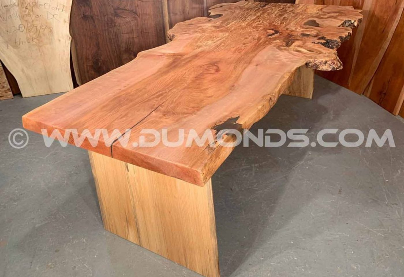 SPALTED MAPLE BURL LIVE EDGE SLAB TABLE WITH MAPLE BASE