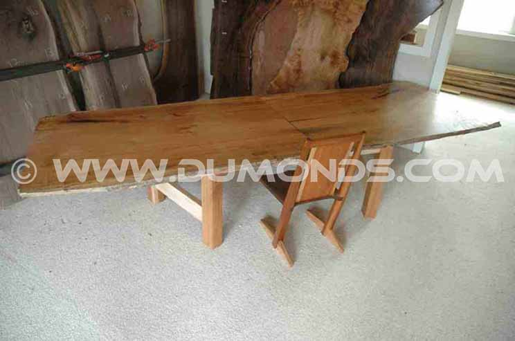 Recycled book matched maple dining table