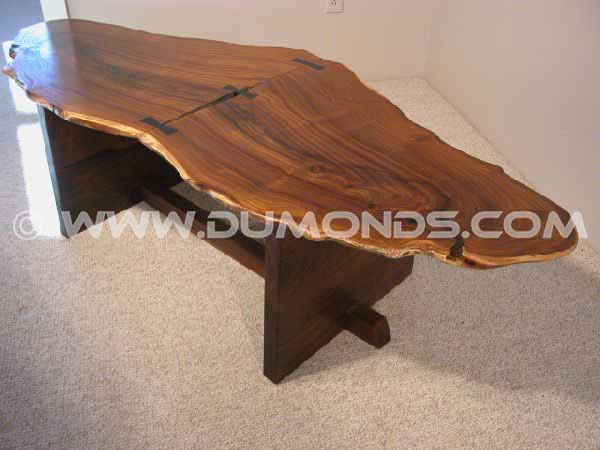 Large Rustic Olive Slab Custom End Table