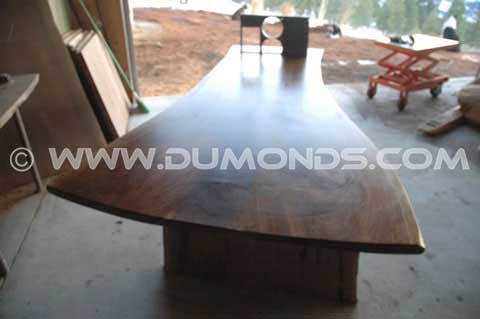 Recycled Steel and Walnut Slab Custom Executive Desk