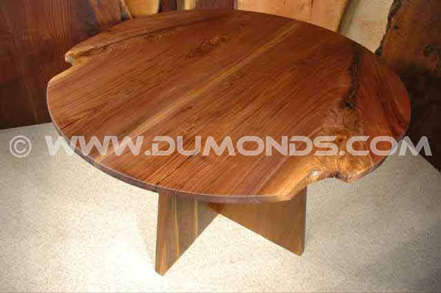 Round Walnut Crotch Slab Dining Room Table