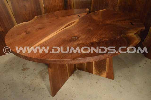 Round Walnut double Crotch Table Top