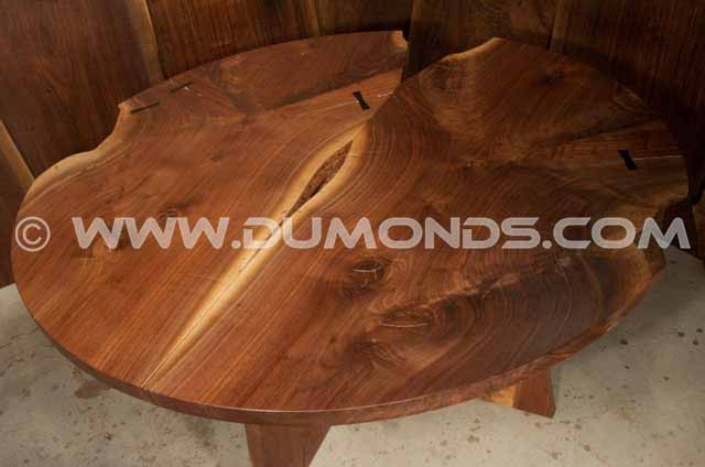 Round Walnut double Crotch dining table