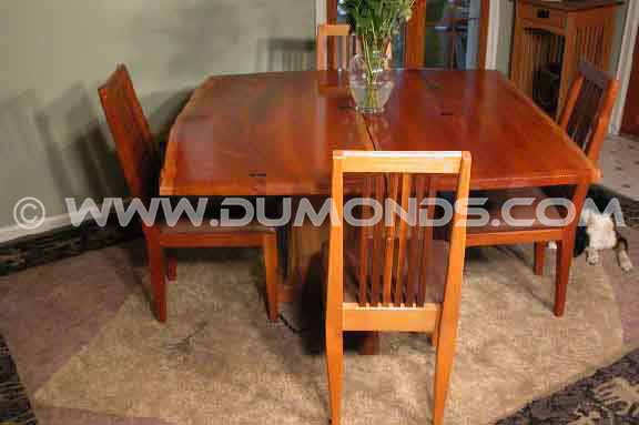 Double Cherry Wood Slab Custom Rustic Dining Room Table