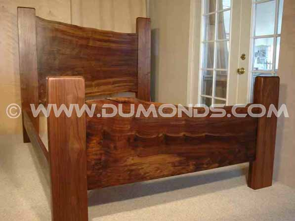 """Zovich"" Custom Recycled Reclaimed Rustic Walnut Slab Bed"