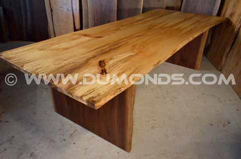 Spalted Q Sycamore Table with Walnut Slab legs