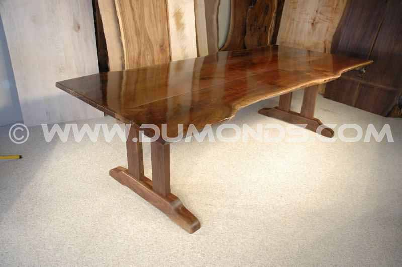 The Burns Rustic Walnut Slab Trestle Dining Table