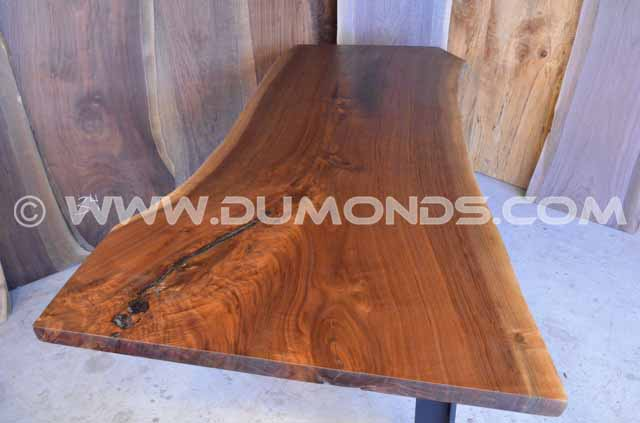 Walnut Crotch Desk with C Steel Base