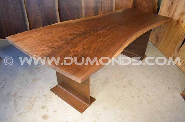 Walnut Table With Steel I-Beam Base