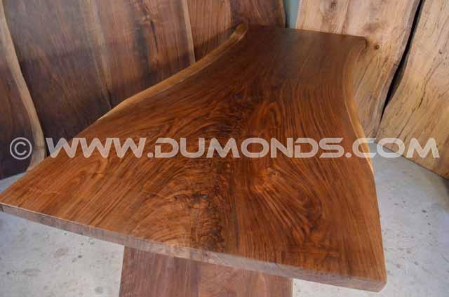 Walnut Crotch Live Edge Table with Angled Walnut Base