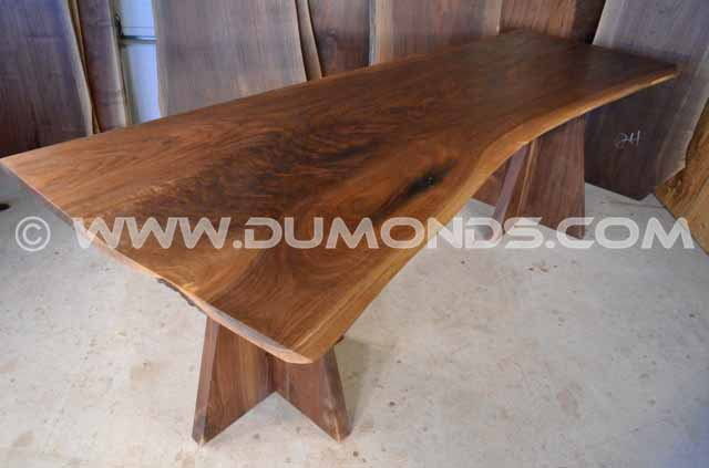 Walnut Crotch Live Edge Table with Double Base