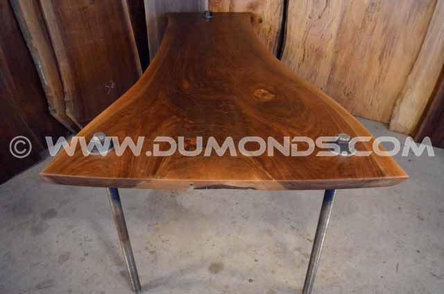 Walnut Crotch Table with Steel Threaded Rod Base