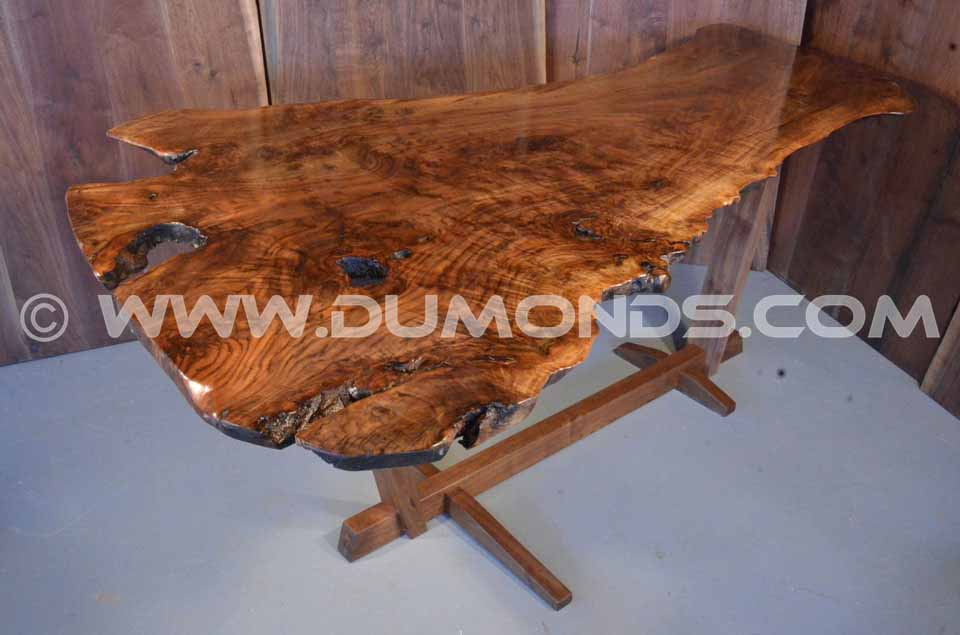 Walnut Slab Dining Table With Slab Base