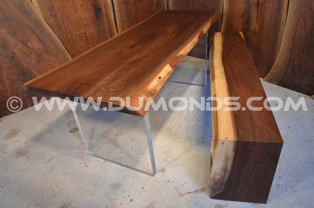 Walnut dining table with handmade wooden benches