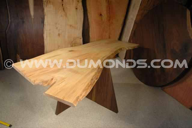 6′ Ash Slab Custom Live Edge Dining Table with organic shape.