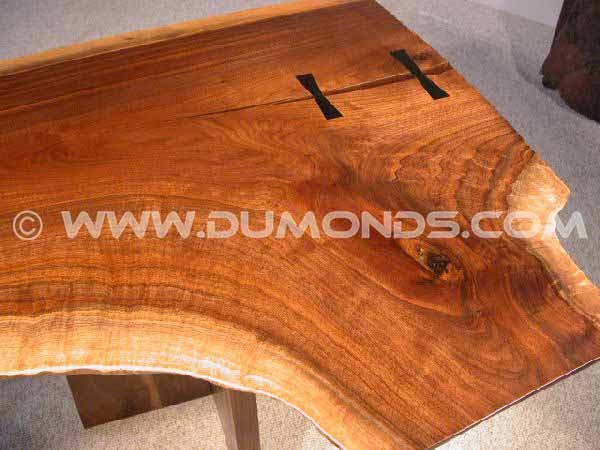 Double Pedestal Walnut Slab Executive Desk With Butterflies