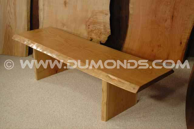 Cherry slab handmade wooden bench